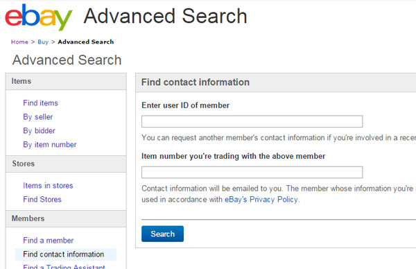 Advanced Search Contacts