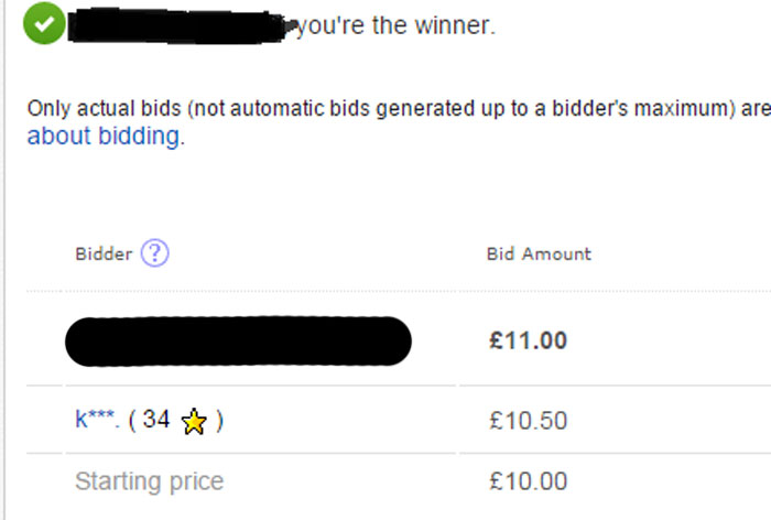 On this occasion it was first time lucky as my snipe for a Batman Blu-ray  steelbook won, beating out another bidder by 50p.