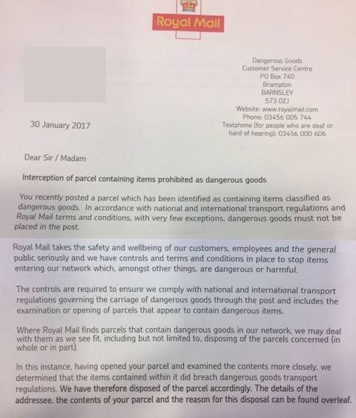 SHOCKING - Package Seized and Destroyed by Royal Mail!