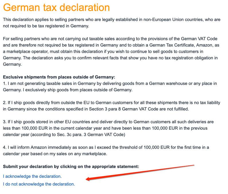 Amazon de Germany's VAT TAX Certificate/Declaration issue