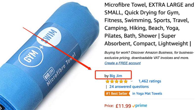 Brand name on Amazon