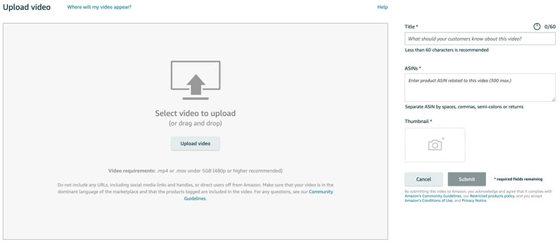 How to upload Amazon UK Product Videos