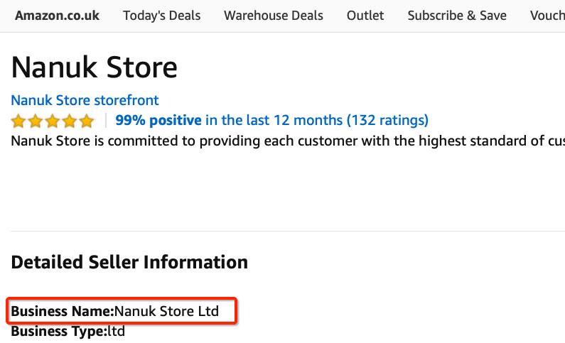 Company name on Amazon