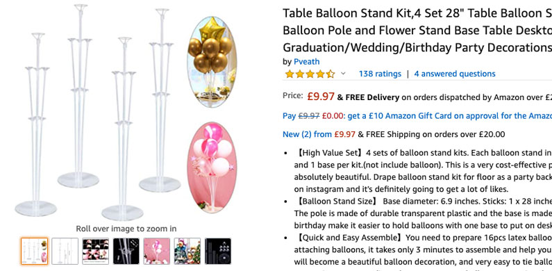 Table Balloon Stands Wholesale