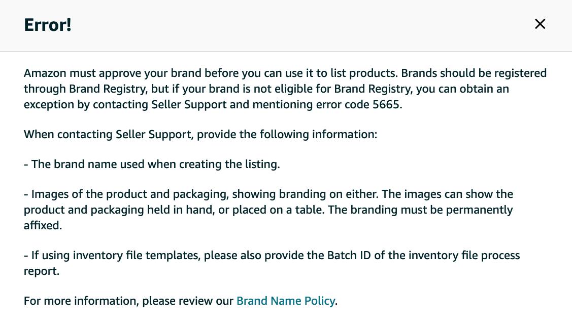 5665 Error message on Amazon