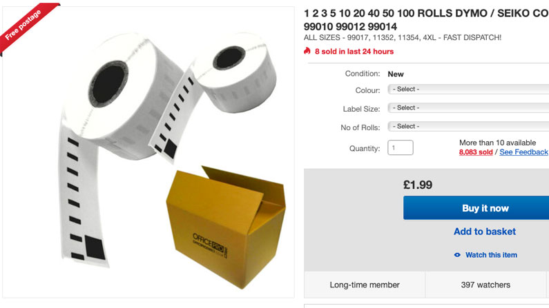 Dymo compatible labels on eBay