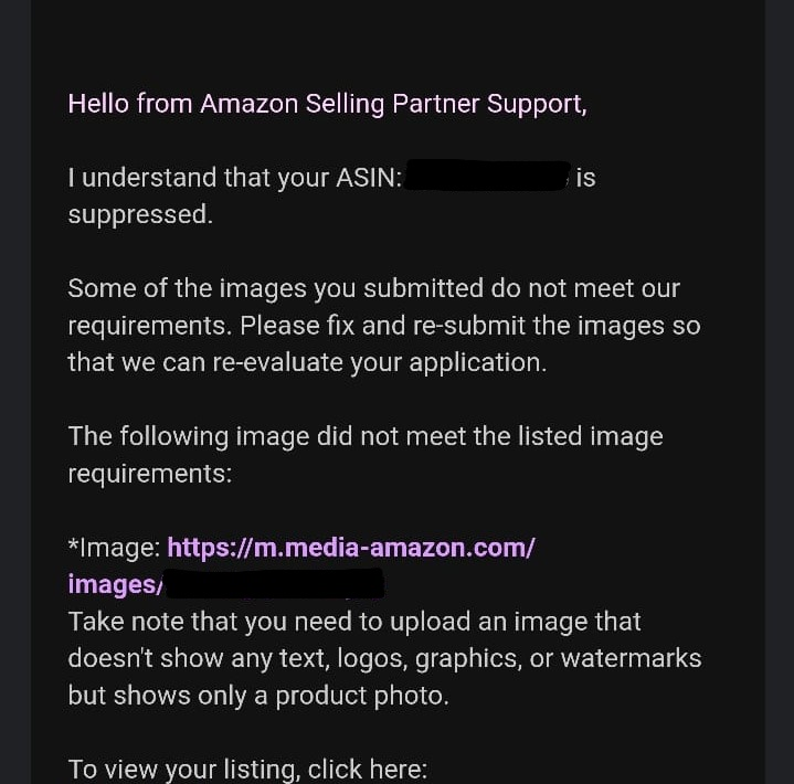 Customer support response for Amazon FBA sellers inquiring about a suppressed listing.